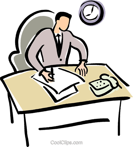 office worker doing paper work Royalty Free Vector Clip Art.