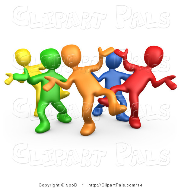 Pal Clipart of a 3d Diverse Colorful People Dancing at a Party by.