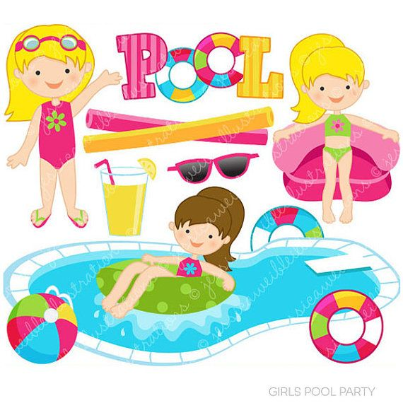 Girls Pool Party Cute Clipart, Pool Party Clip Art, Summer.