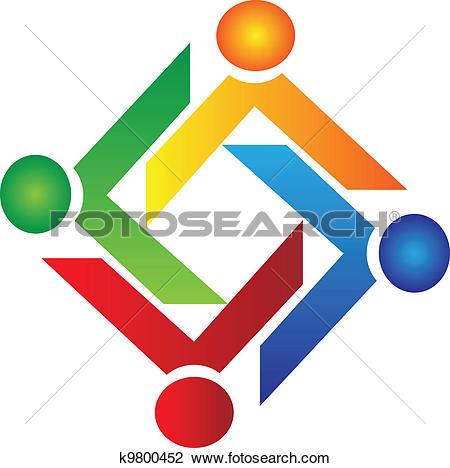 Clipart of Teamwork unity people logo k19586962.