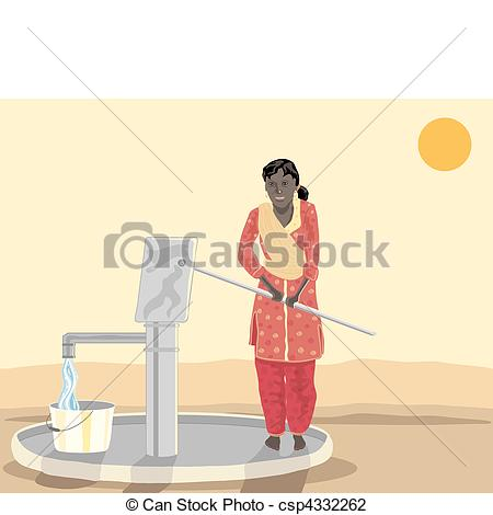 Vector Illustration of asian woman at a well.