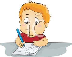 A Boy Doing a Writing Assignment.