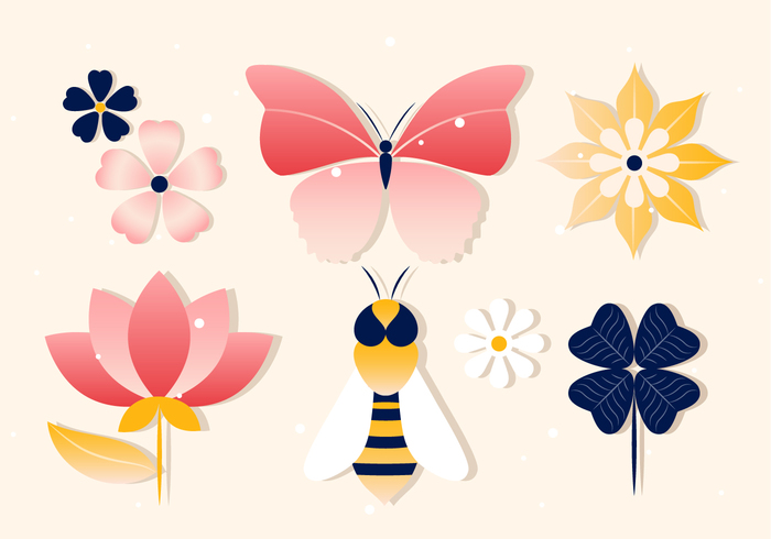 Free Spring Vector Insects.