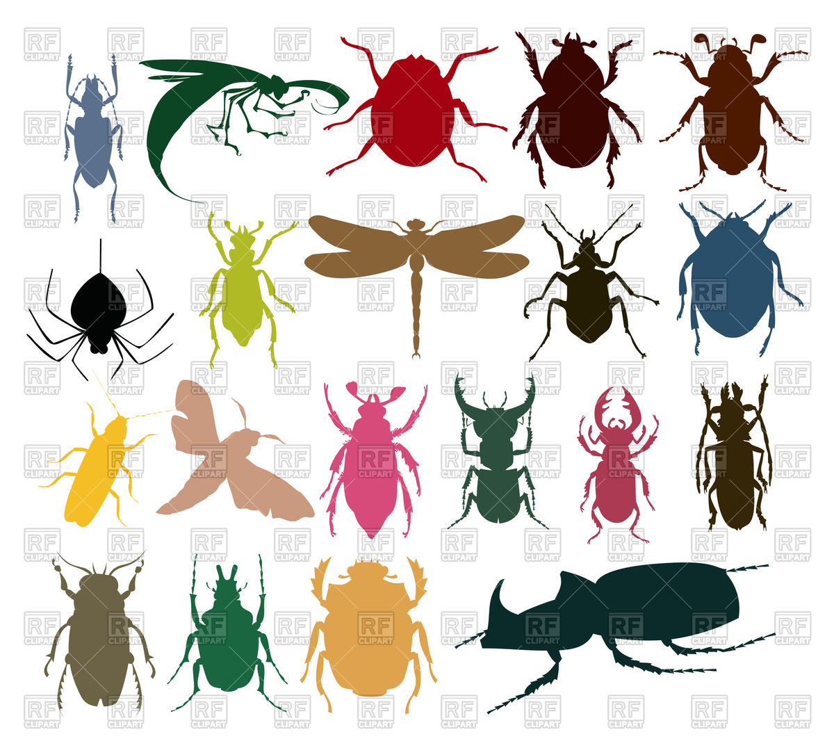 Silhouettes of insects of different colour Vector Image #82198.