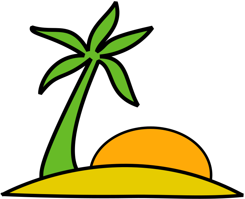 Free Clipart: Island palm and the sun.