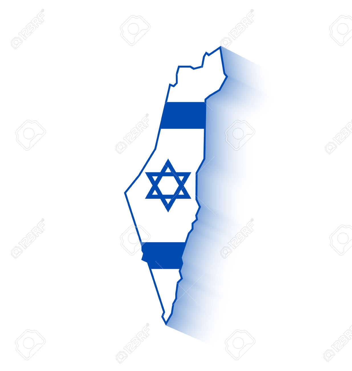 israeli flag: Israel map with.