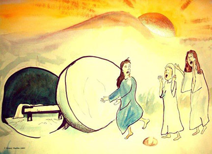 Empty tomb clip art pictures and coloring pages of Jesus Christ.