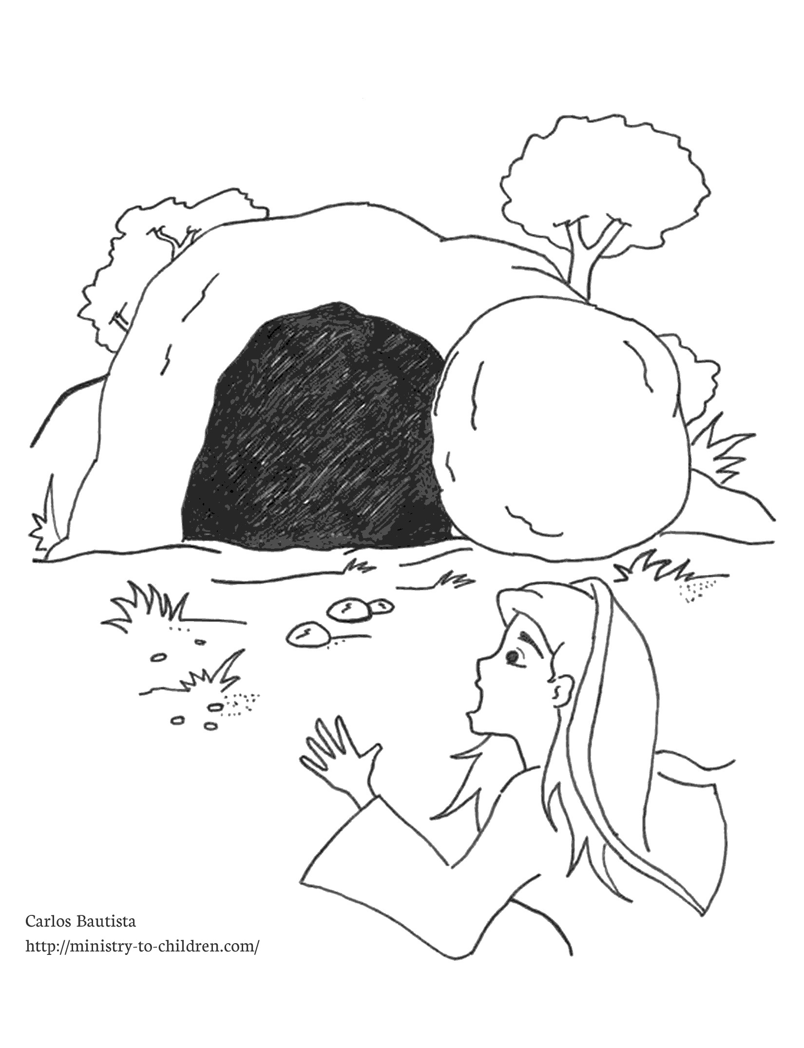 Empty Tomb Coloring Page (Free Kids Printable).