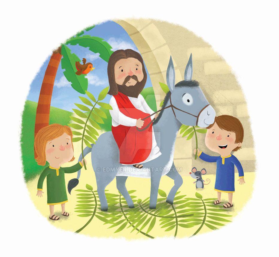 Palm Sunday Jesus On Donkey by edmyer.