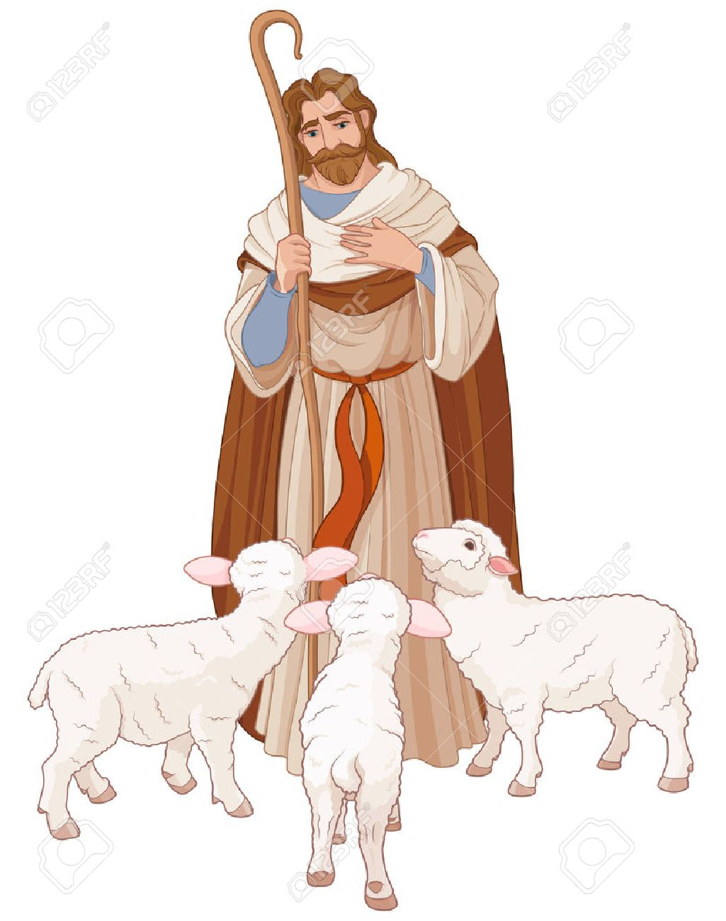 Illustration of Jesus Christ is the good shepherd.