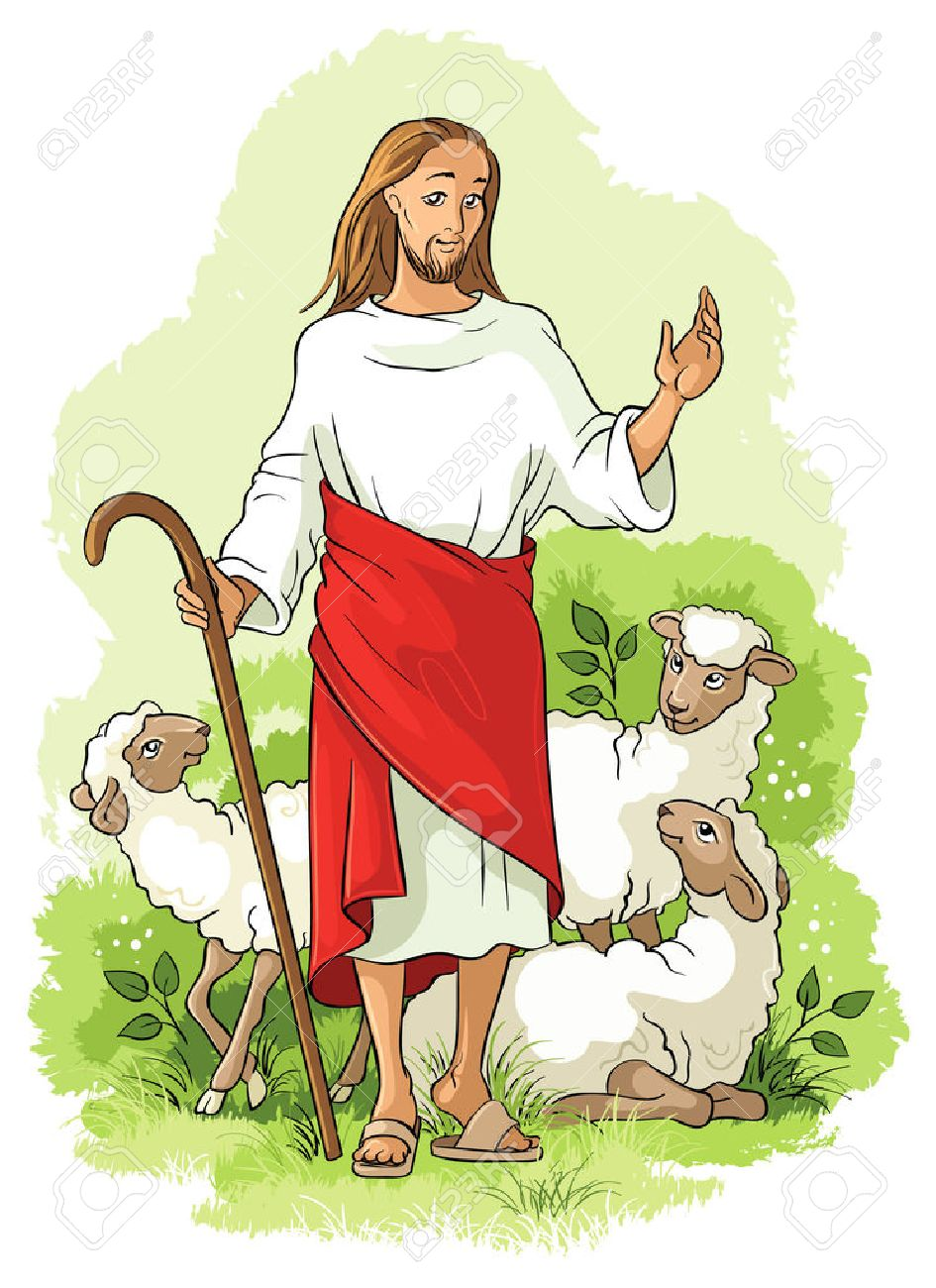 Jesus is a good shepherd. Christian illustration.