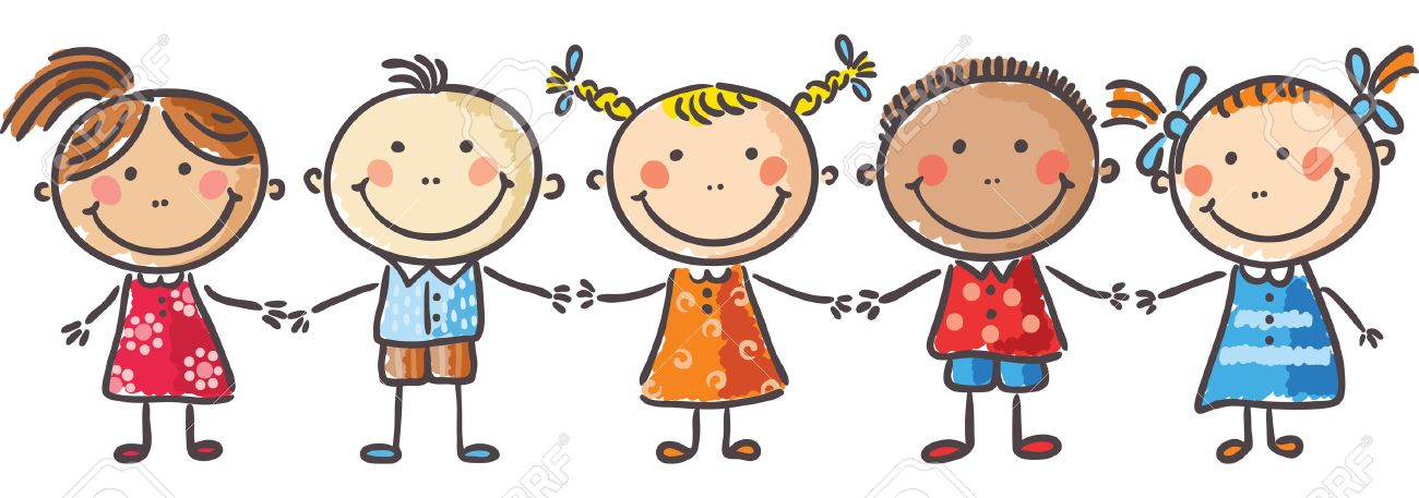 kids holding hands free clipart #9