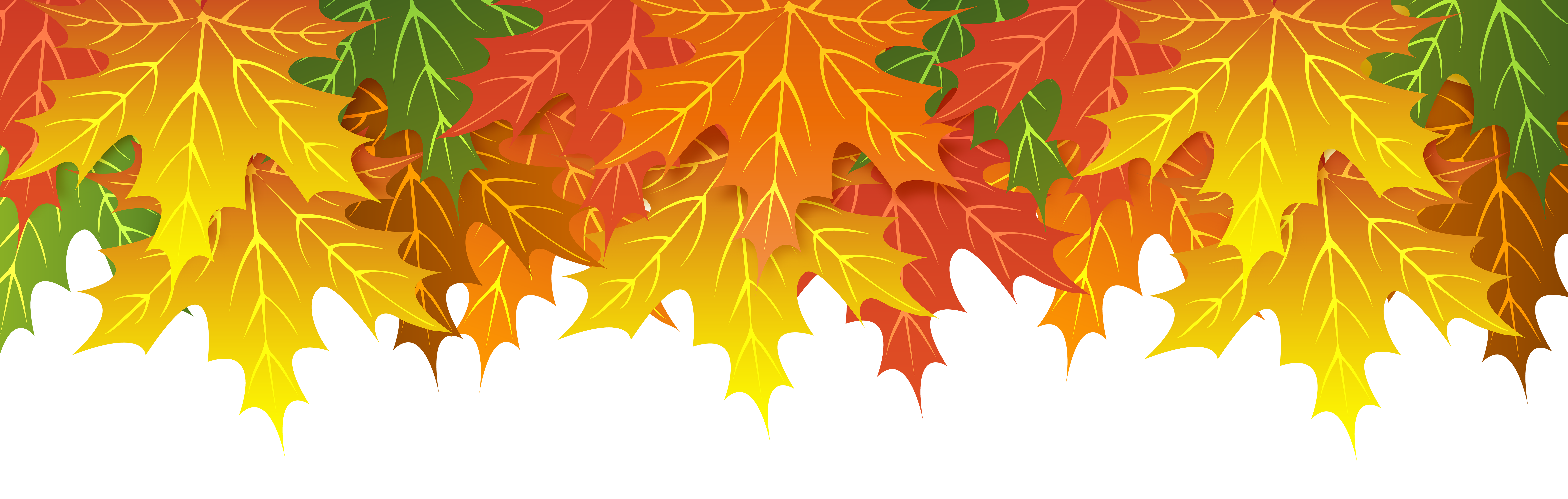 Fall Leaves Upper Border PNG Clip Art Image.