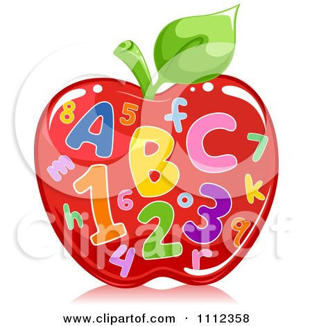 Clipart Colorful Letters And Numbers On A Shiny Red Apple.