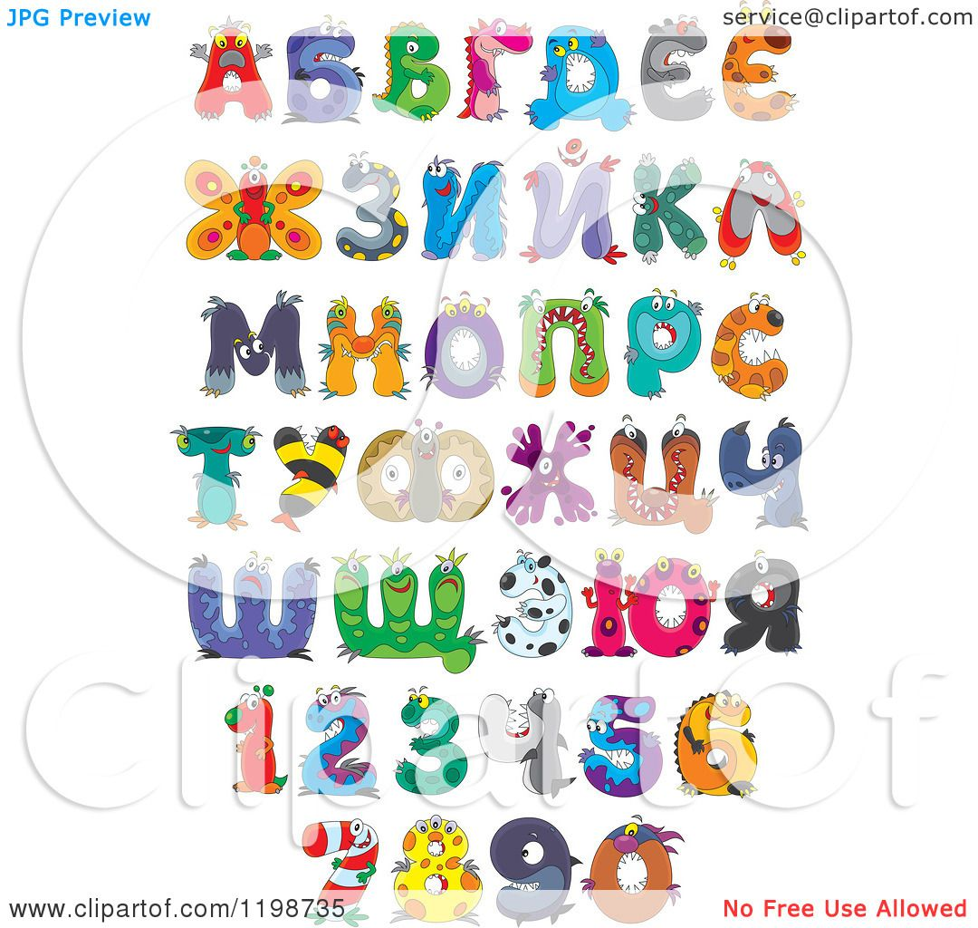 Cartoon of Colorful Monster and Animal Letters and Numbers 2.