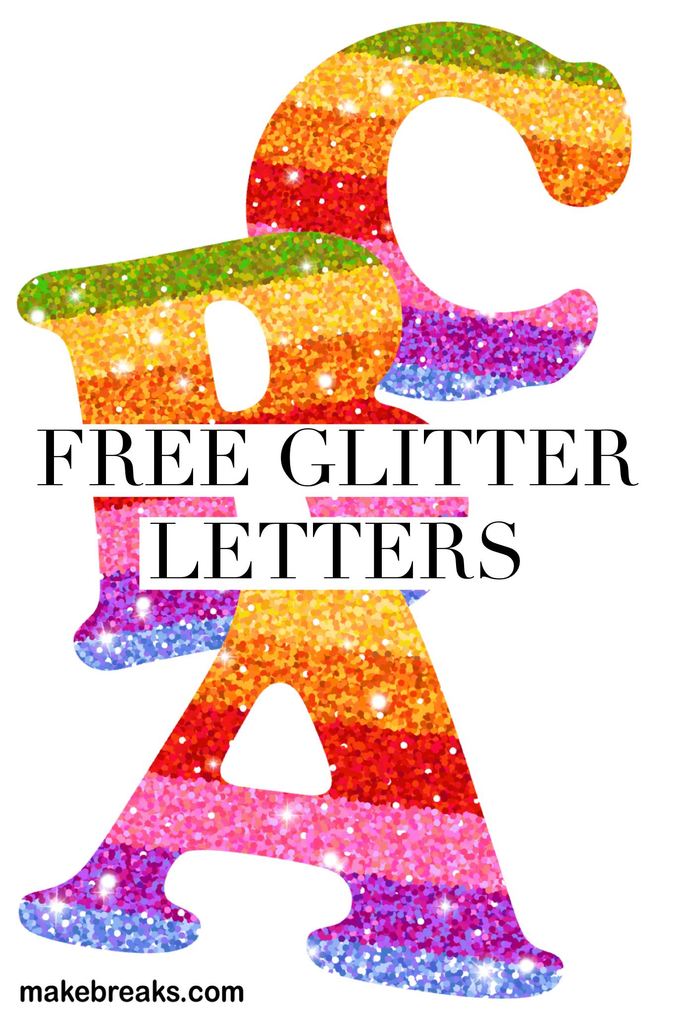 Free Printable Rainbow Glitter Letters.