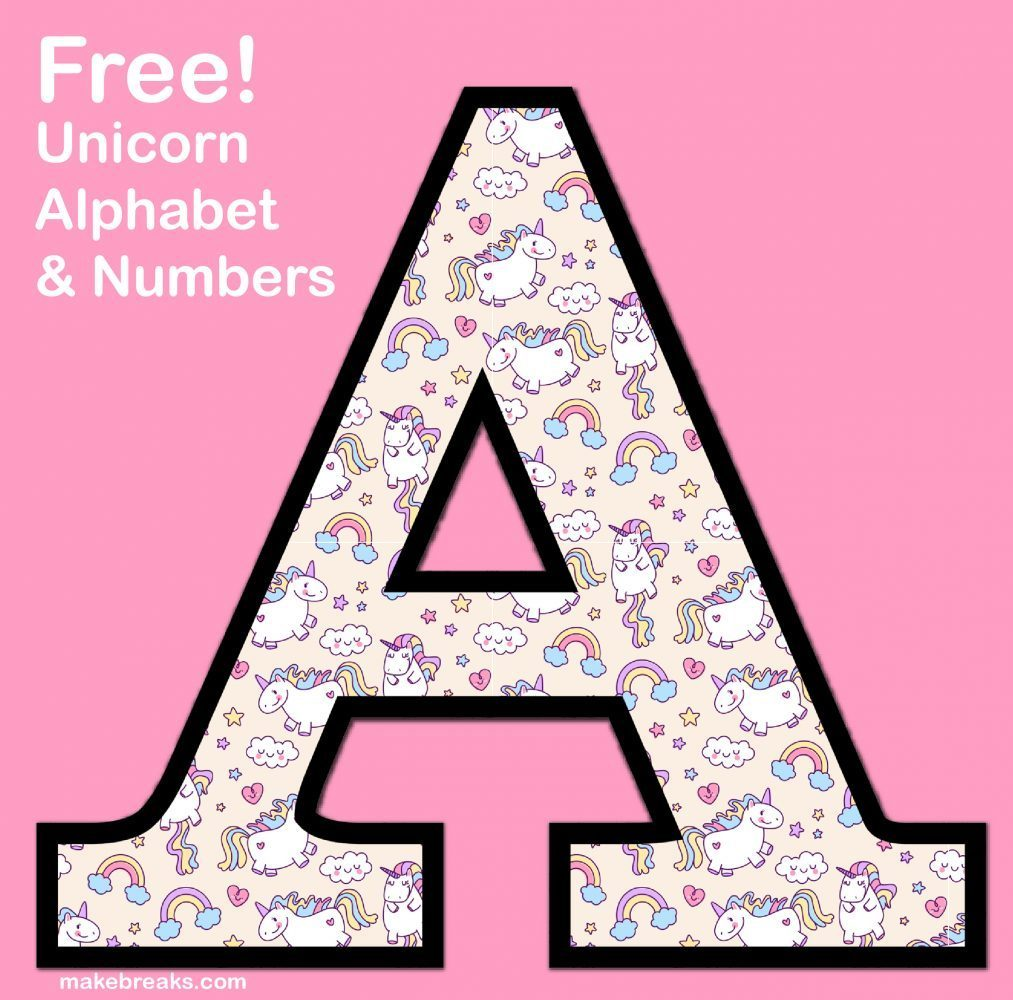 Unicorn Letters & Numbers to Print 3.