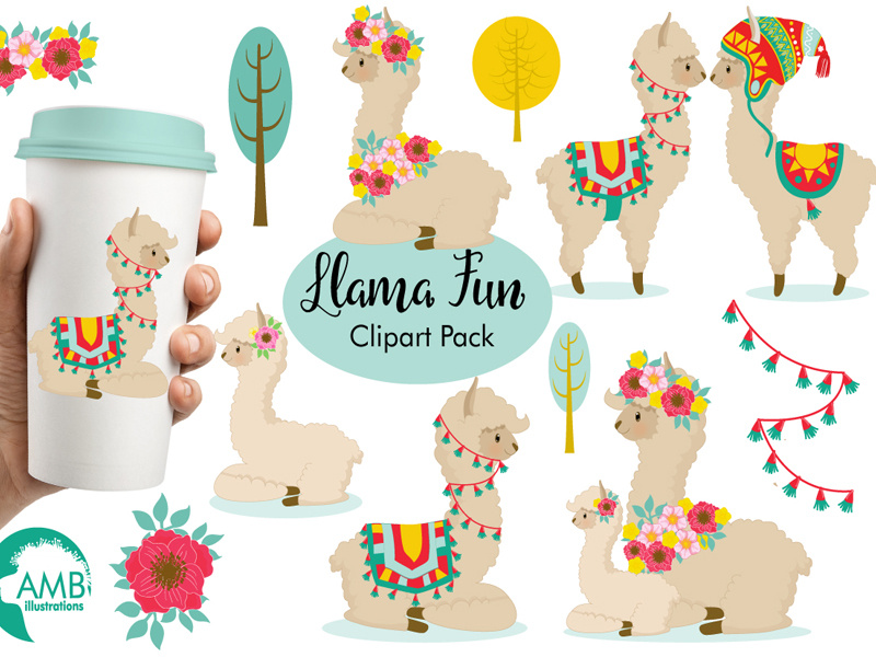 FREE Llama Fun Clipart Pack by TheHungryJPEG.com on Dribbble.
