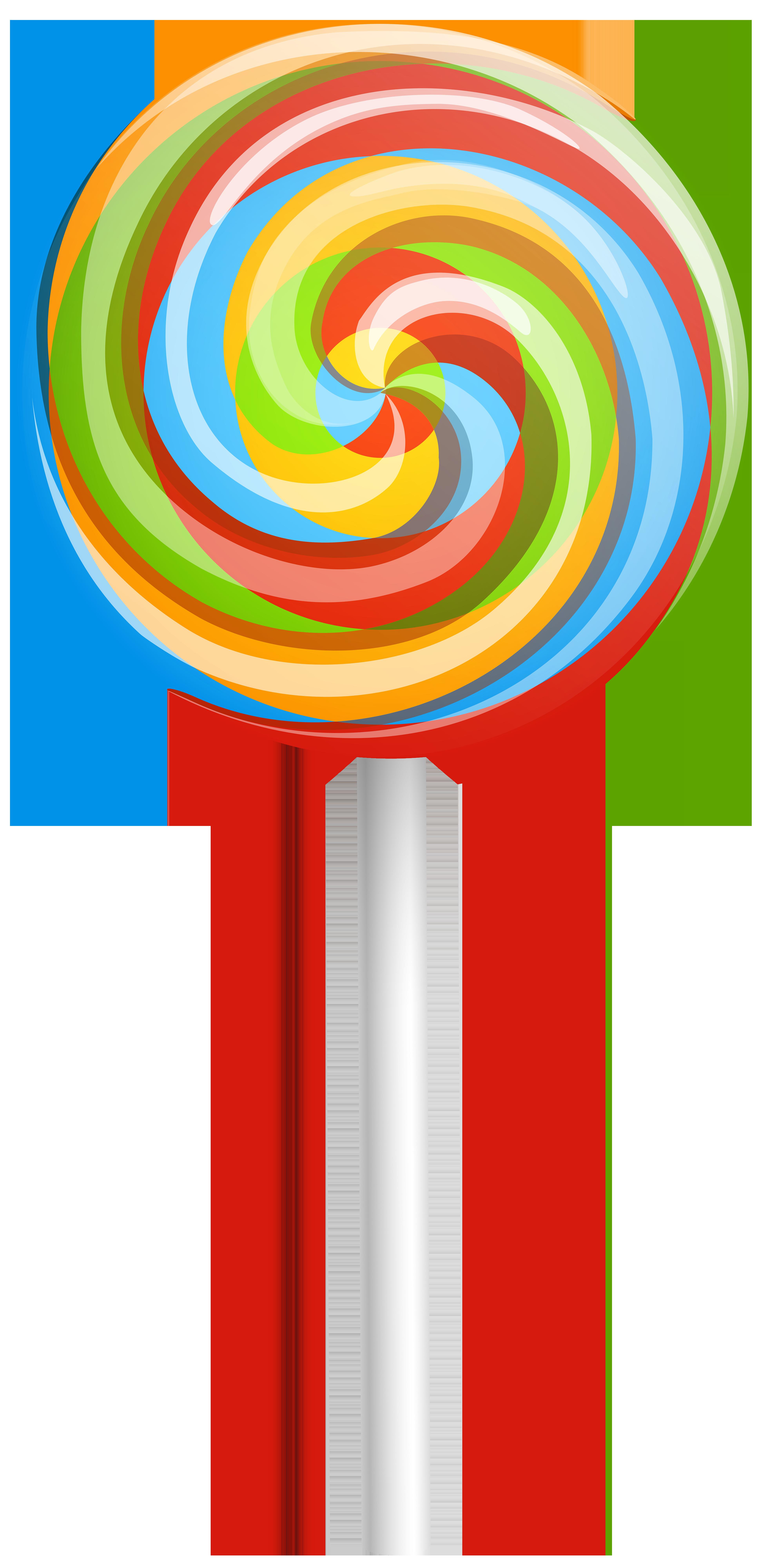 Rainbow Swirl Lollipop PNG Clip Art Image.
