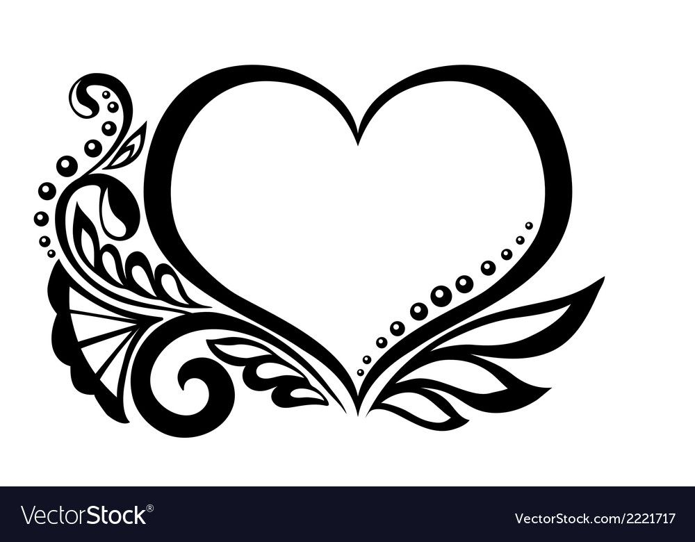 Symbol of a heart with floral design Royalty Free Vector.