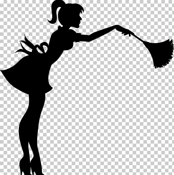 Cleaner Cleaning Maid Silhouette , Silhouette PNG clipart.
