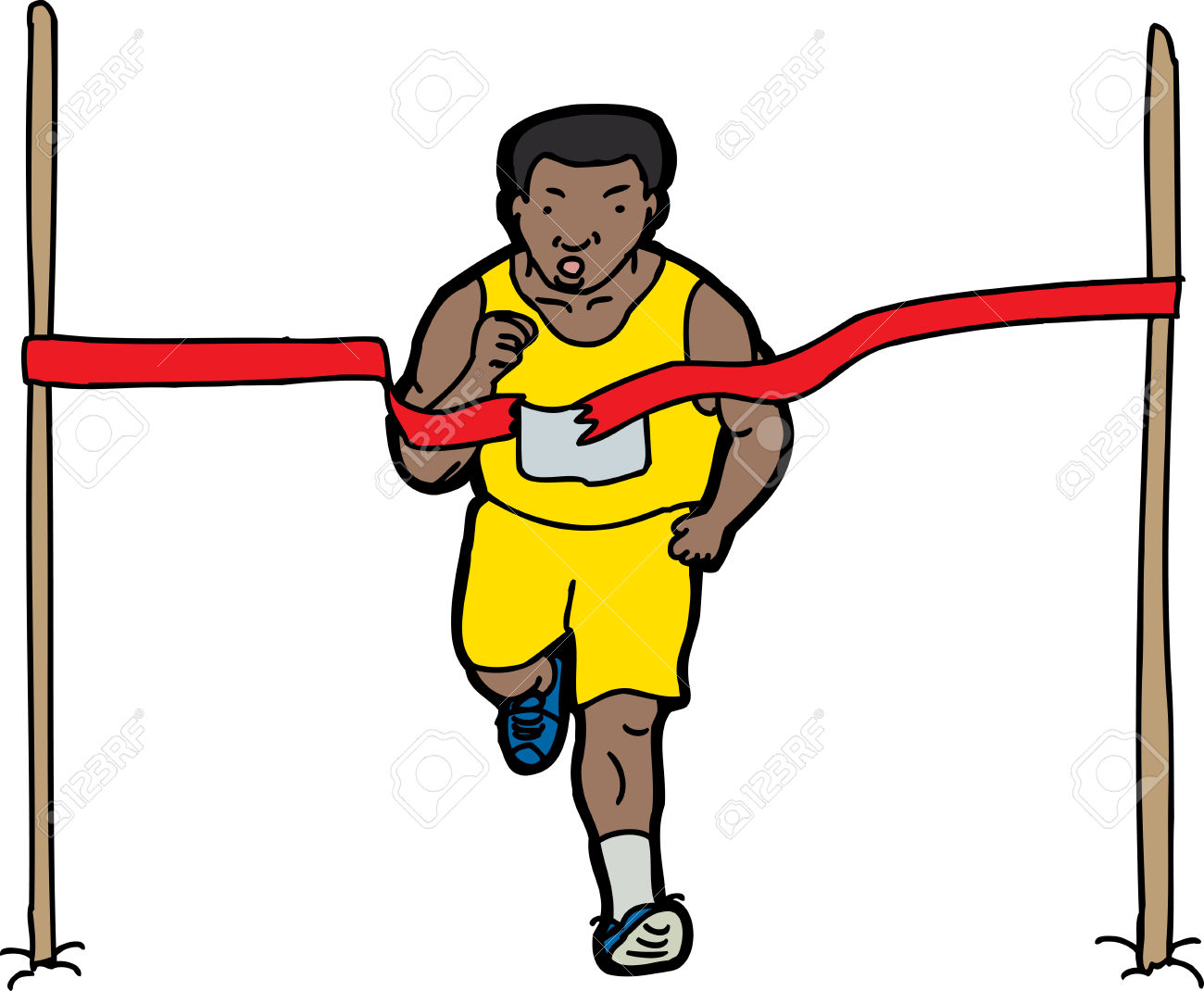 Free Clipart Man Crossing The Finish Line.