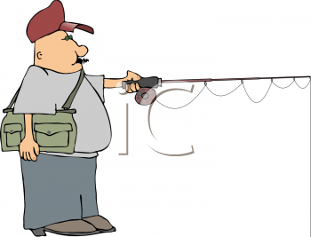 Royalty Free Clipart Image of a Man Fishing.
