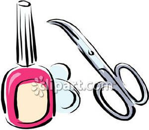 Manicure Scissors And Nail Polish Royalty Free Picture.