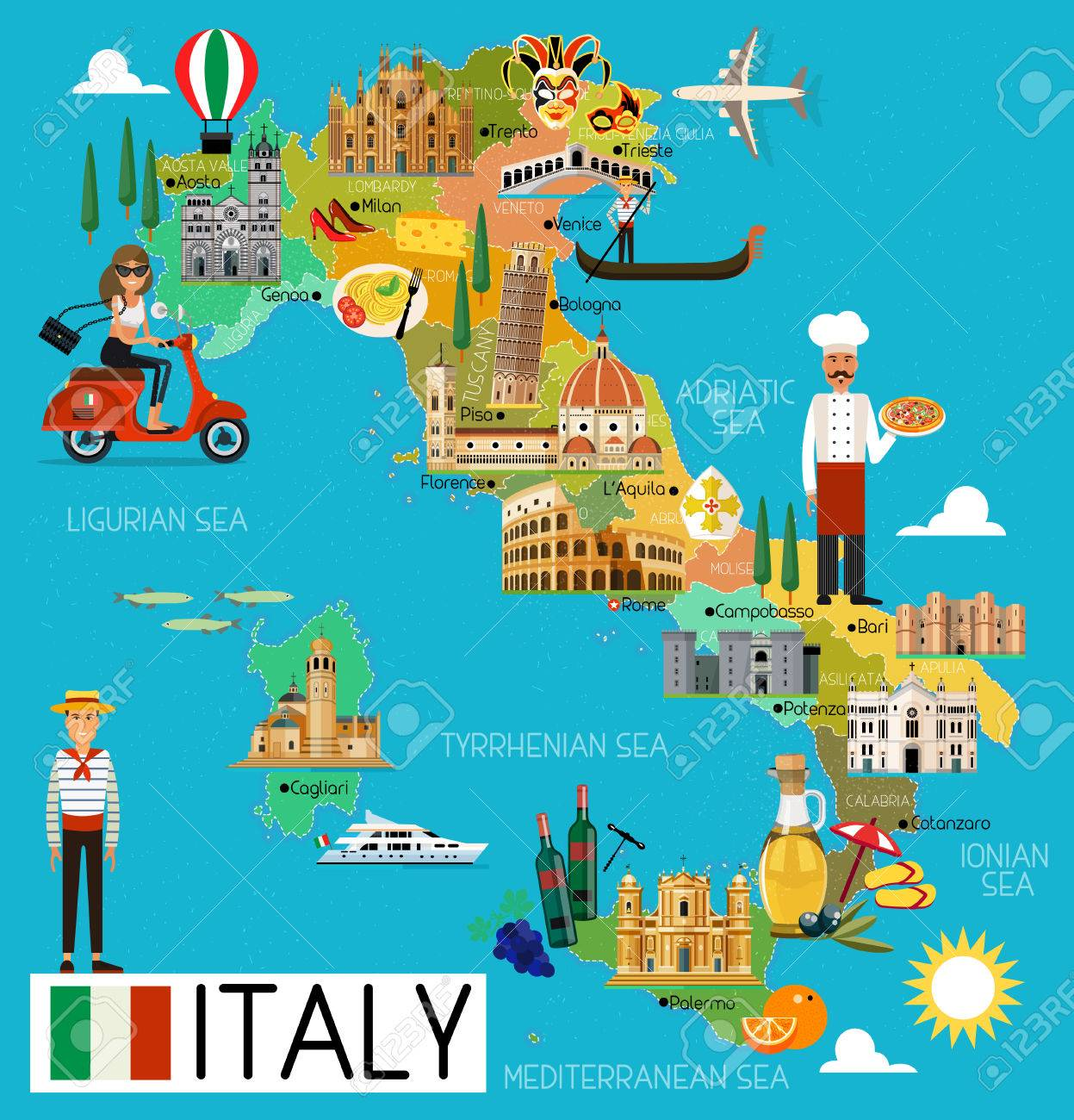Italy Travel Map..