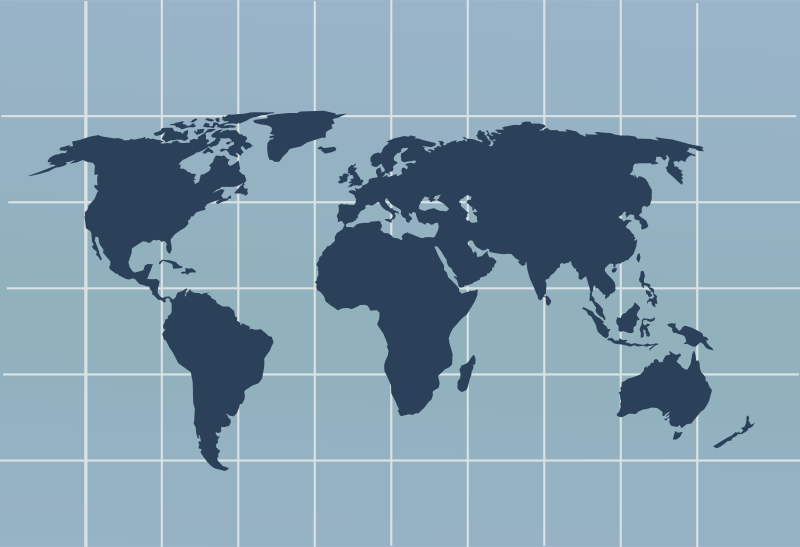 Free Clipart: World map with grid.