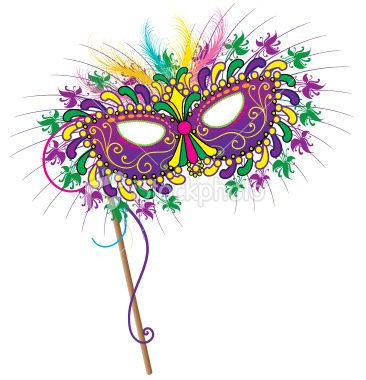 Detailed carnival Mardi Gras mask in traditional colors.