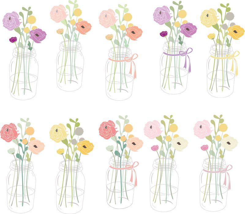Flowers in Mason Jar Clip Art.