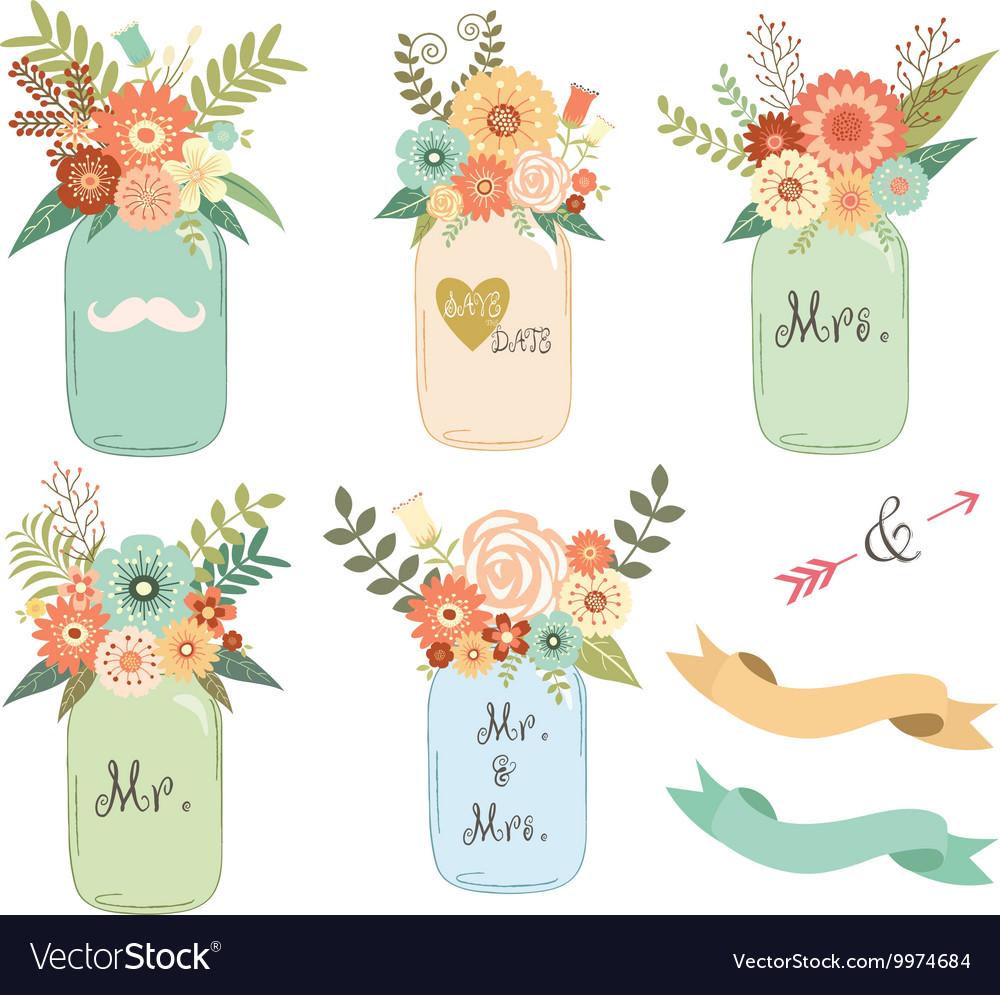 Mason Jar Wedding flower Collections.