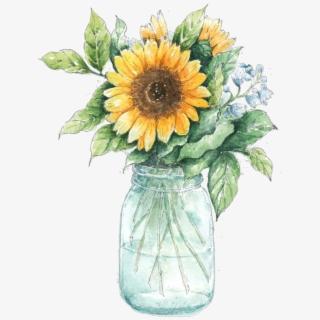 Sunflowers Clipart Mason Jar.