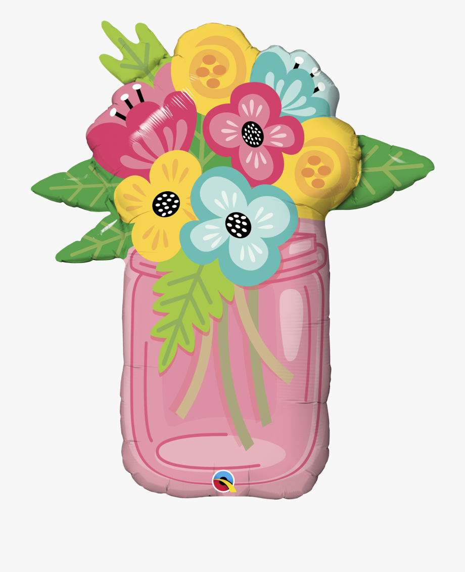 Clip Art Mason Jar Flowers , Transparent Cartoon, Free.