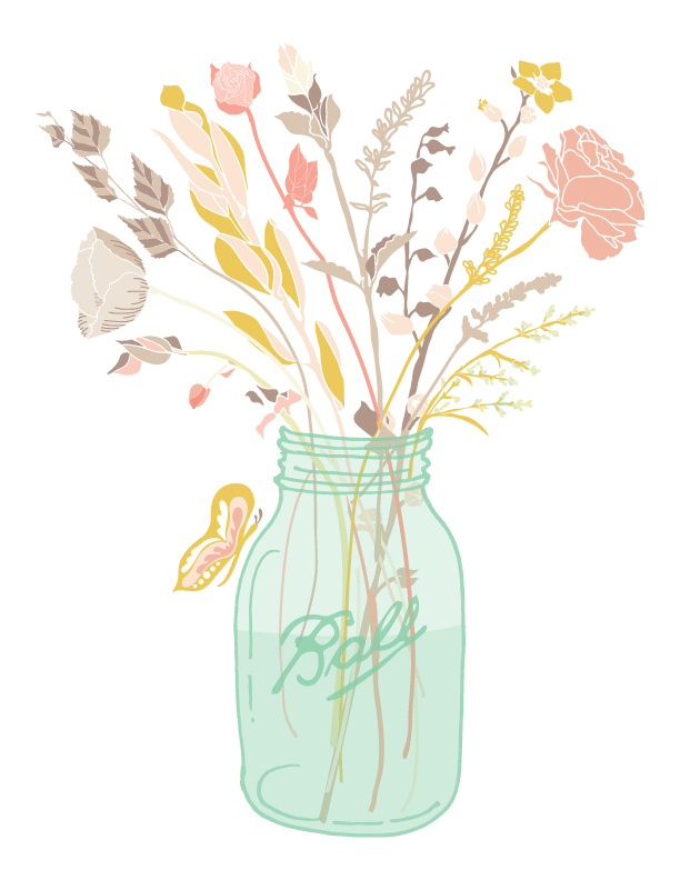 Mason Jar With Flowers Clipart Free.