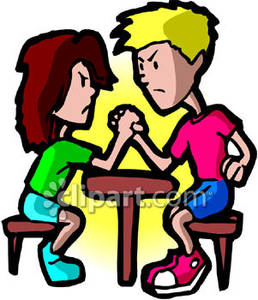 Men Arm Wrestling Royalty Free Clipart Picture.