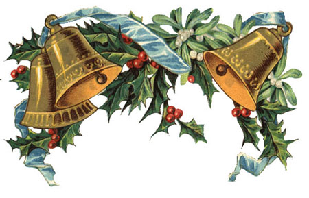Free Clipart: Vintage Christmas Bells, Holly, Mistletoe.