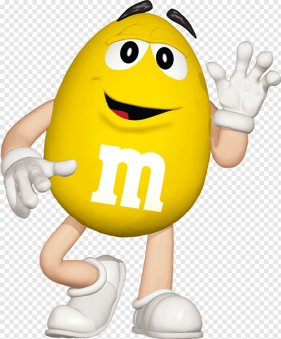Yellow M&M character waving hand, M&M\'s World Hackettstown.