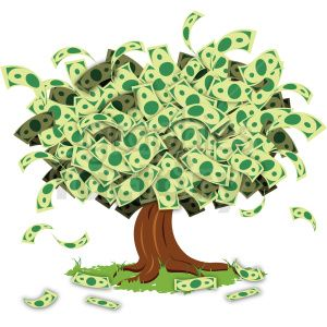 cartoon money tree clipart. Royalty.