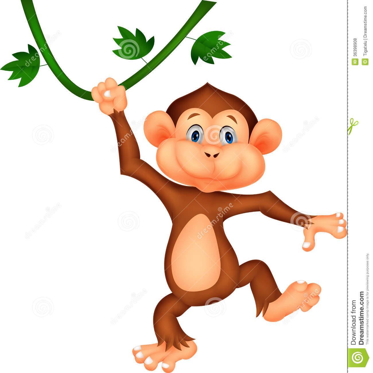 Cute monkey cartoon hanging.