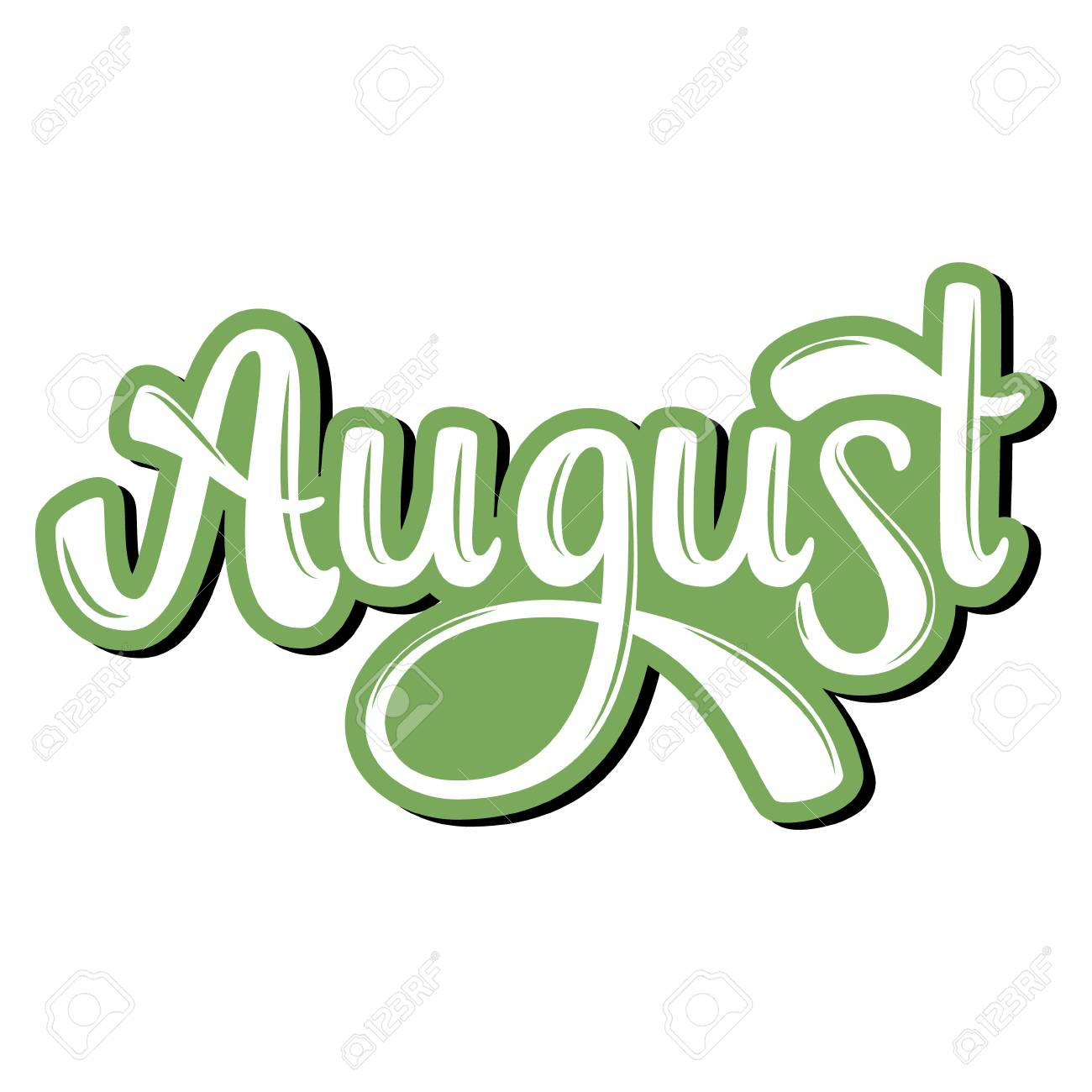 August. Name of the month. Handwritten Lettering. Text. Modern...