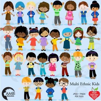 Classroom Clipart, Multicultural Kids Reading Clipart, AMB.