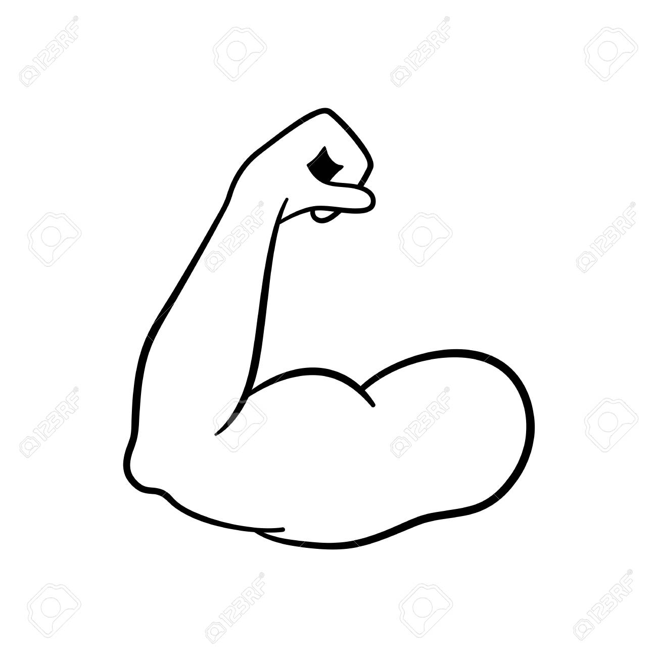 Muscle icon. Strong power. Muscle arm vector icon. Biceps. Strong...
