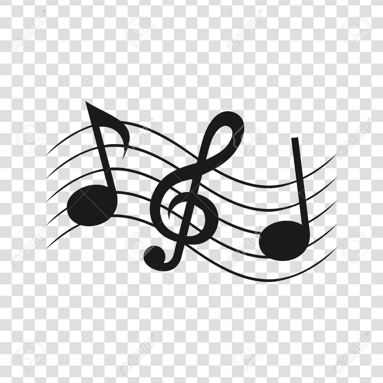 Musical notes on a transparent background. Vector illustration.