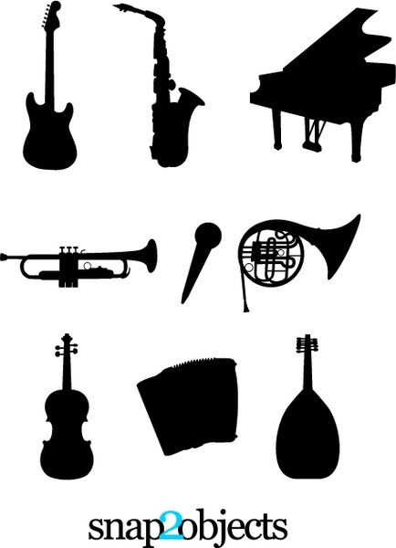 Musical Instruments Silhouettes Free vector in Adobe.