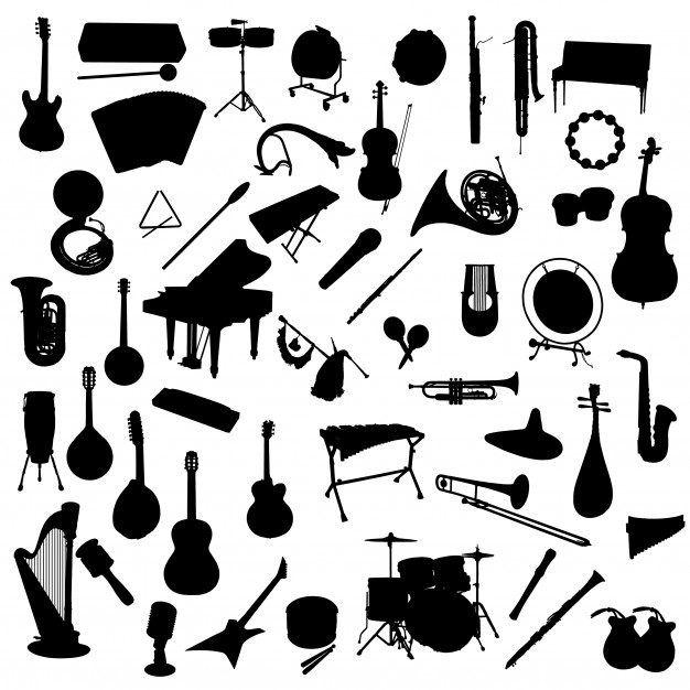 Music instruments silhouette clip art Vector.