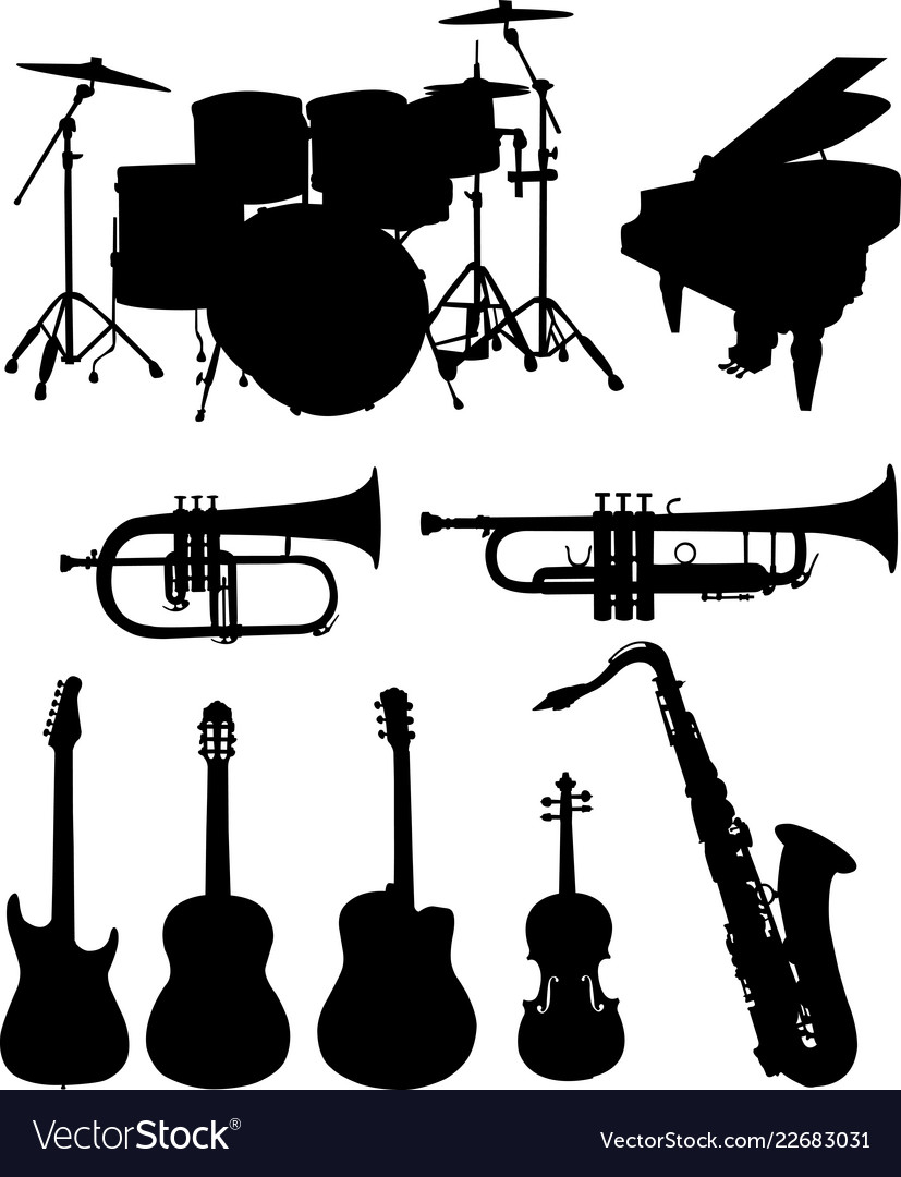 Musical instruments silhouettes collection.