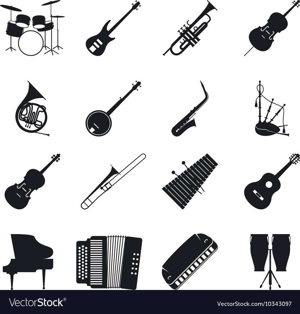 Jazz musical instrument silhouettes.