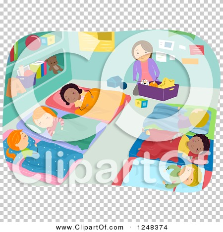 Clipart of a Teacher Cleaning While Students Take Nap Time.